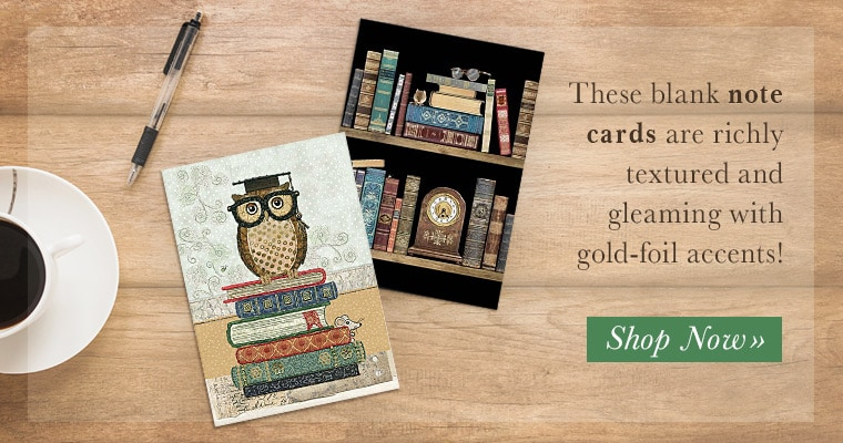 Gold Foil Library Note Cards