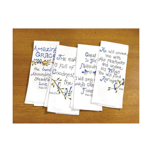 Bible Verse Kitchen Hand Towels with Embroidered Psalms