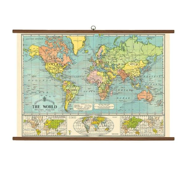 vintage school chart world map 1 review 5 stars bas bleu um0512