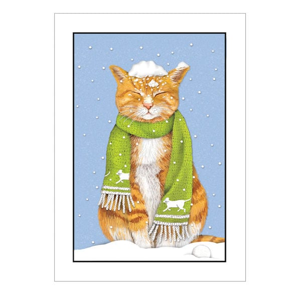 tabby in snow holiday cards - Pet Holiday Cards