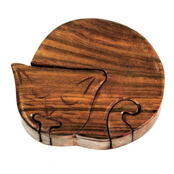 Wooden Cat Puzzle Box