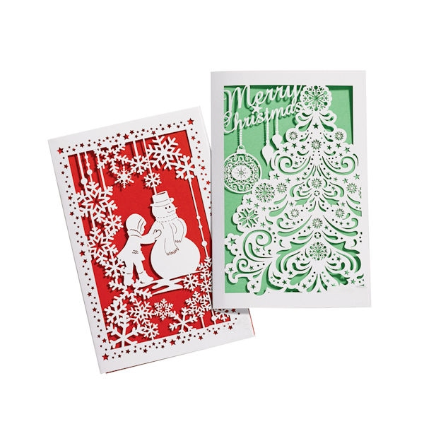 laser cut christmas cards set 2 - Laser Cut Christmas Cards