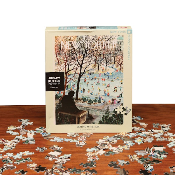 750 Piece Jigsaw Puzzle New York Puzzle Company New Yorker Skating in the Park
