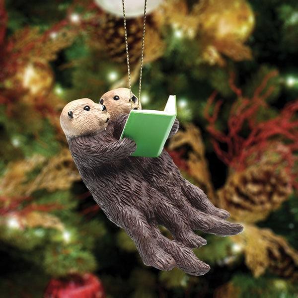 Reading Otters Christmas Ornament | Bas Bleu | UP9156