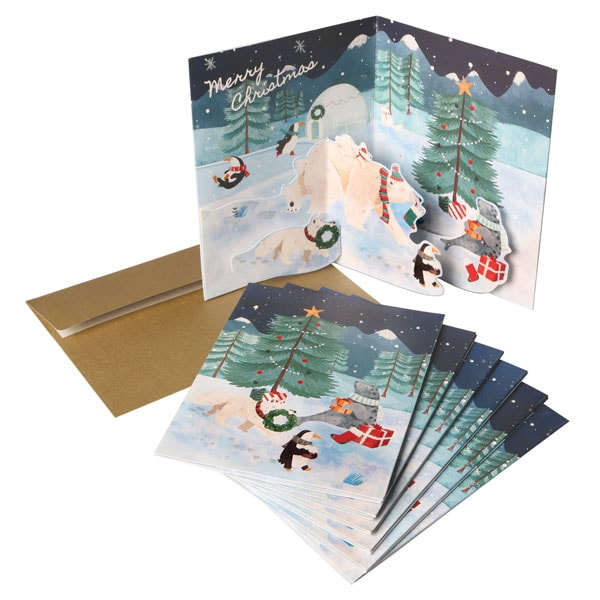 Arctic Christmas Pop,Up Greeting Cards