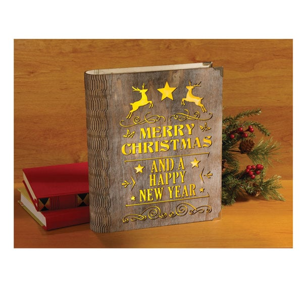 Christmas Book.Light Up Wooden Christmas Book
