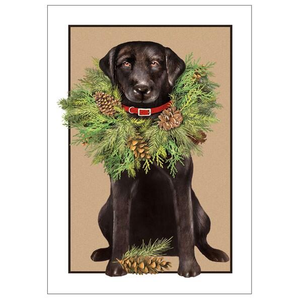 wreath dog christmas cards