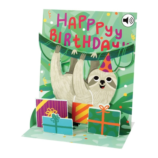 Sloth Musical Pop Up Birthday Greeting Card