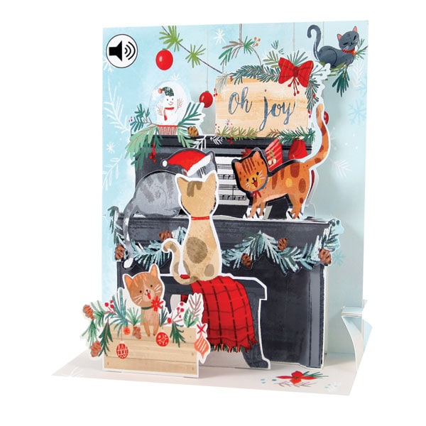 Piano Cats Audio Pop,Up Christmas Card