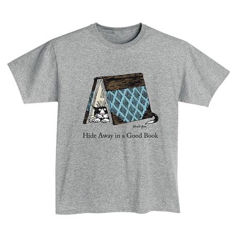 """Gorey """"Hide Away in a Good Book"""" T-Shirt"""