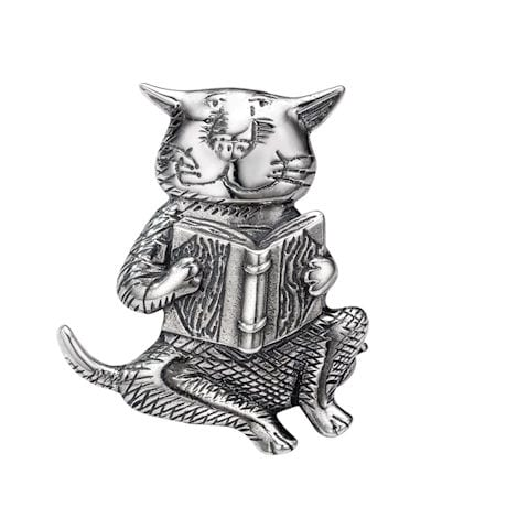 Gorey Cat and Book Pin