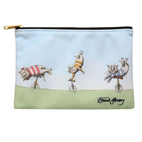 Edward Gorey Zipper Pouch - Unicycling Cats