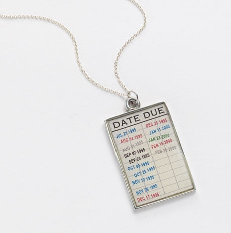 Library Checkout Card Necklace