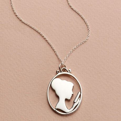 Reading Lady Silhouette Pendant Necklace