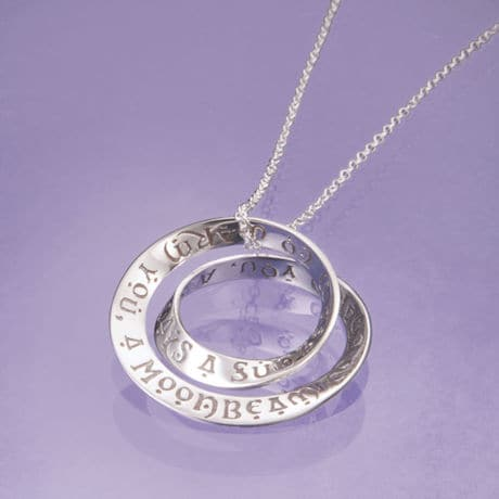 Irish Blessing Mobius Necklace in Sterling Silver