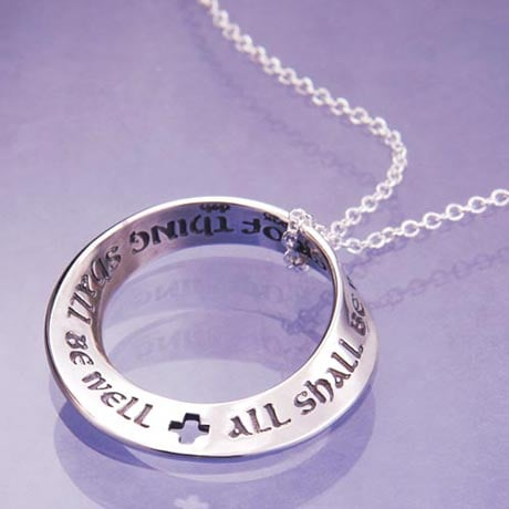 All Shall Be Well Mobius Necklace With Quote by Julian of Norwich