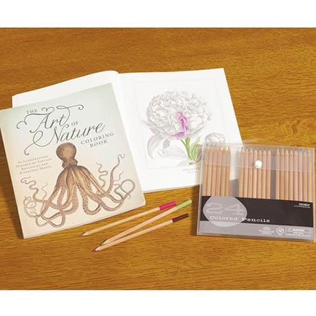 The Art of Nature Coloring Book with 24 Colored Pencils