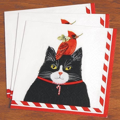 Cat and Cardinal Napkins