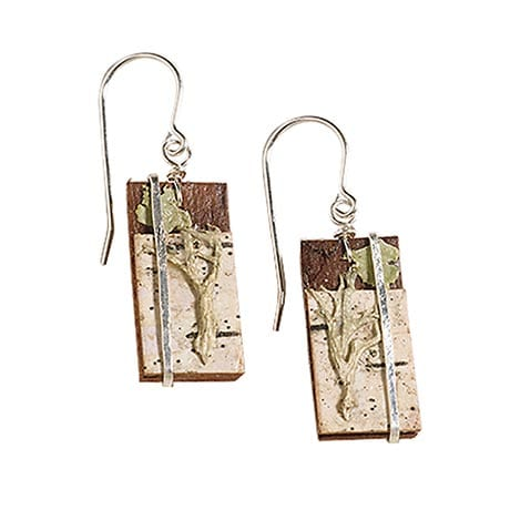 Natural Birch Bark and Lichen Earrings