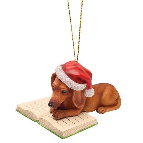 Reading Dachshund Ornament
