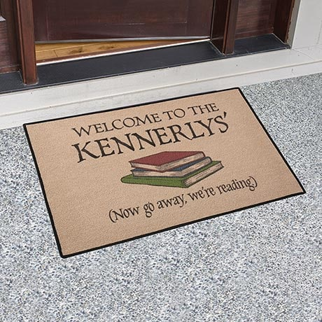 Go Away, We're Reading Personalized Doormat
