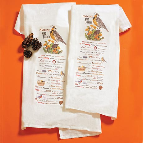 Pinecone Bird Feeder Tea Towels