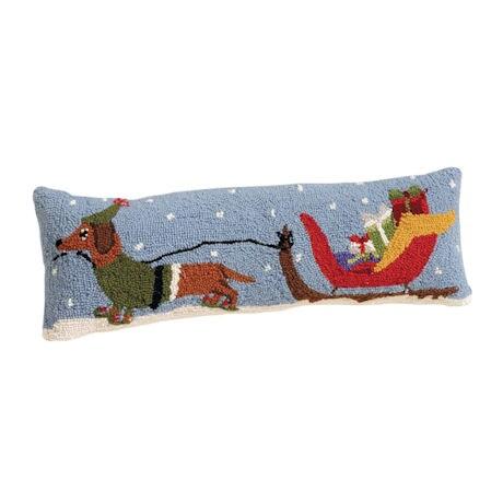 Dachshund Santa's Sleigh Pillow