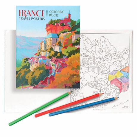 France Travel Posters Coloring Book with Colored Pencils