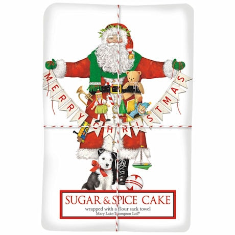 Garland Santa Tea Towel with Sugar and Spice Cake Mix