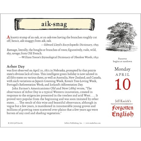 2017 Forgotten English Daily Calendar