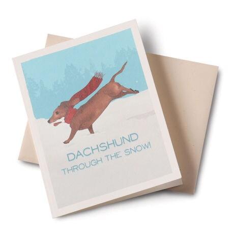 Dachshund Through the Snow Christmas Cards