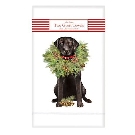 Wreath Dog Guest Towels