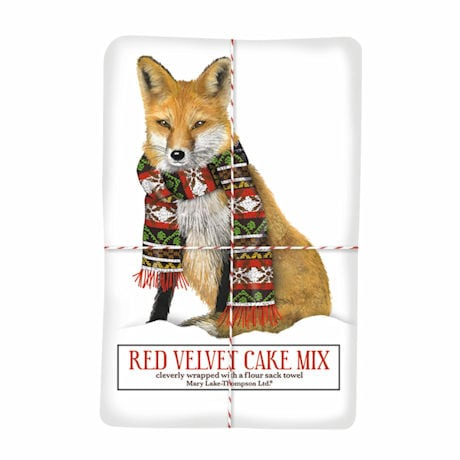 Scarf Fox Red Velvet Cake Mix and Tea Towel