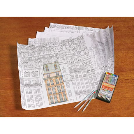 Fantastic Cities Coloring Poster Set