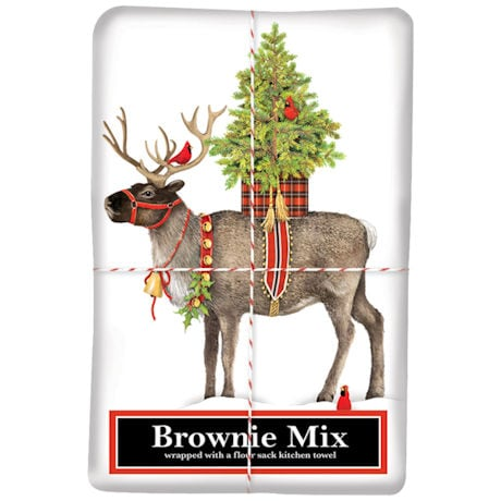 Reindeer and Cardinals Tea Towel and Brownie Mix
