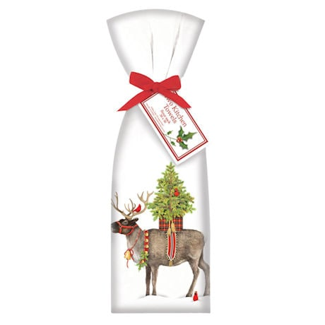 Reindeer and Cardinals Tea Towels Set