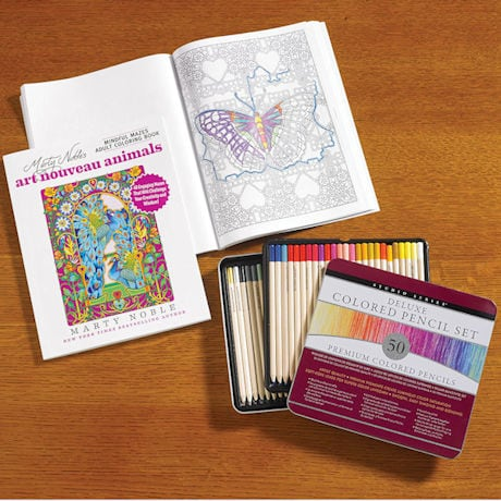 Art Nouveau Animals Mindful Mazes Coloring Book and Deluxe Colored Pencil Set