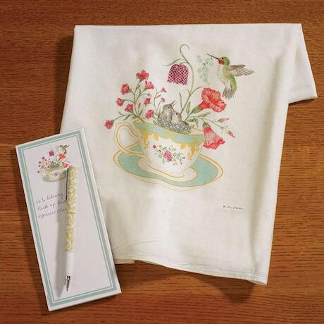 Hummingbird Tea Towel and Notepad Set