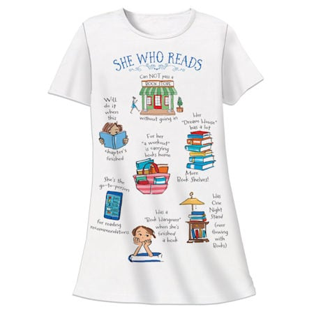 She Who Reads Night Shirt