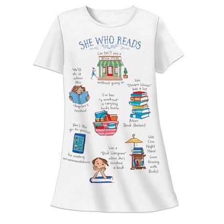 She Who Reads Night Shirt