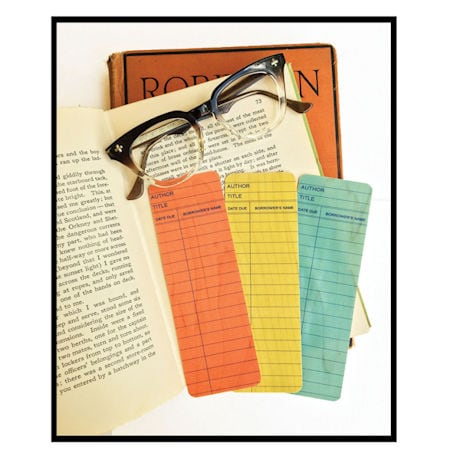 Library Card Wooden Bookmarks (set 3)