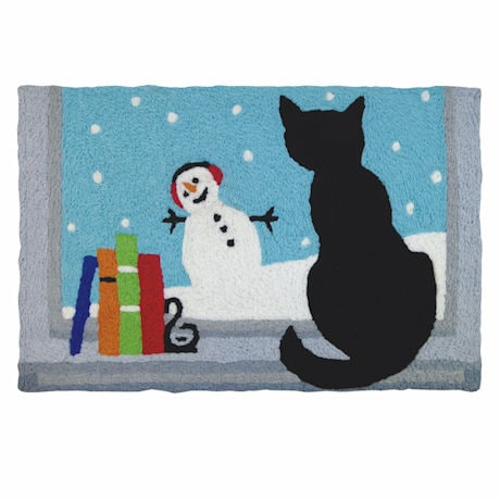 Kitty Watching Snowfall Rug