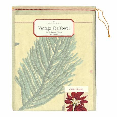 Christmas Botanicals Vintage Tea Towel