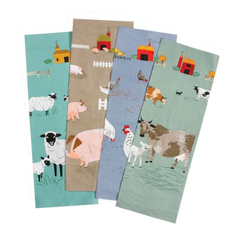 Barnyard Tea Towels: Cow and Hen (each set of two)