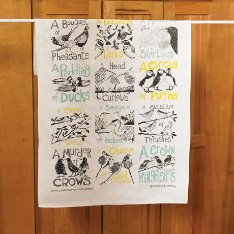 Collective Noun Tea Towel: Birds