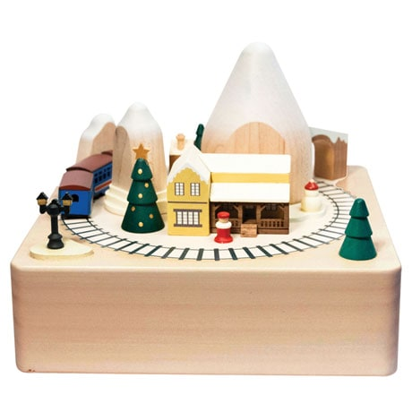 Animated Wooden Train Music Box