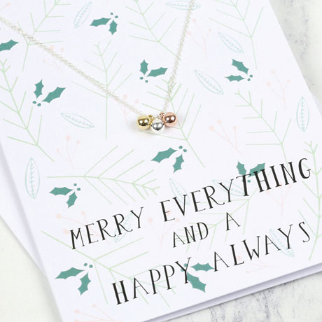 Baubles Necklace Christmas Card