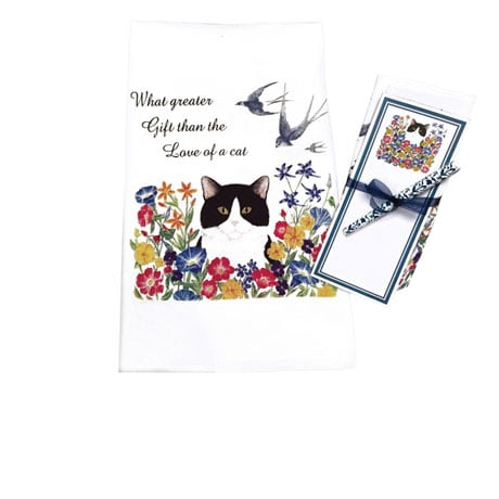 Cat in the Flowers Tea Towel, Notepad, and Pen