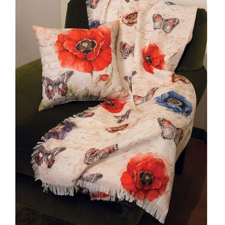 Harlequin Poppy Tapestry Throw