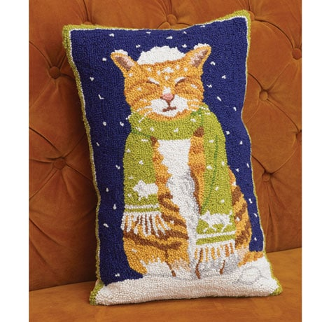 Tabby Cat with Snow Pillow